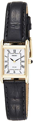 Seiko Solar Damen-Uhr Edelstahl mit Lederband SUP250P1