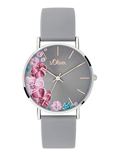 s.Oliver Damen Analog Quarz Armbanduhr mit Silikonarmband SO-3707-PQ