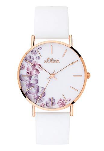 s.Oliver Damen Analog Quarz Armbanduhr mit Silikonarmband SO-3706-PQ