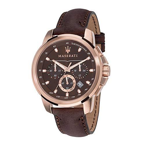 MASERATI Herren Chronograph Quarz Uhr mit Leder Armband R8871621004