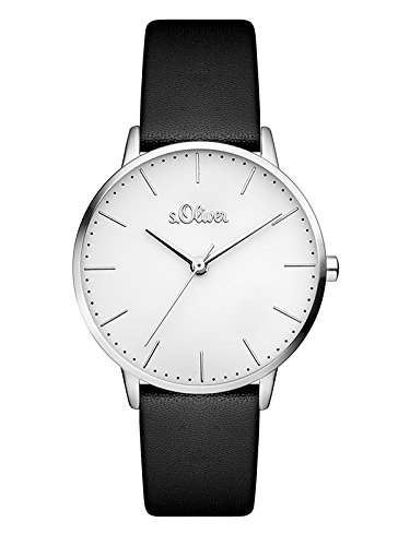 s.Oliver Damen Analog Quarz Armbanduhr mit Leder Armband SO-3440-LQ, schwarz