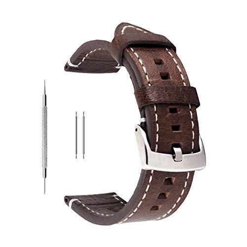 Uhrenarmband aus Echtleder von Berfine, extra weiches Echtleder, Ersatzarmband für Damen- und Herrenuhren, schwarz, braun, 18mm, 20mm, 22mm, dunkelbraun, 22 mm