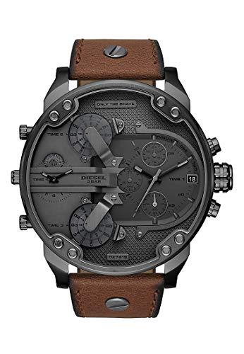Diesel Herren Chronograph Quarz Uhr mit Leder Armband DZ7413