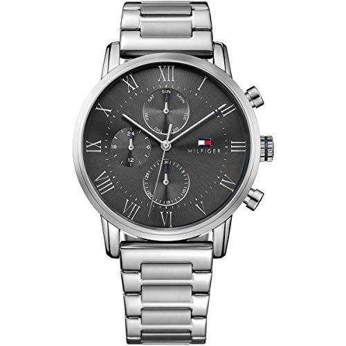 Tommy Hilfiger Herren Multi Zifferblatt Quarz Uhr mit Edelstahl Armband 1791397