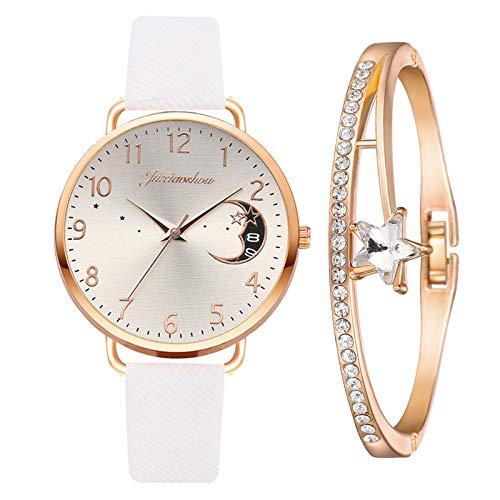 Yue668 Mode Damen Quarz Uhr mit Edelstahl/PU Leder Armband, Lässige Armbanduhr Mit Elegante Armbänder, Frauenuhren Damenuhr Geschenk für Frauen Damen (B3)