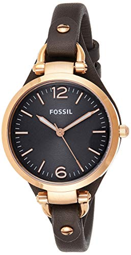 Fossil Damen Analog Quarz Uhr mit Leder Armband ES3077