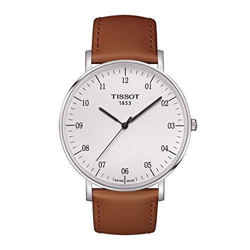 Tissot Herren Analog Quarz Everytime Large Armbanduhr mit Leder Armband T1096101603700