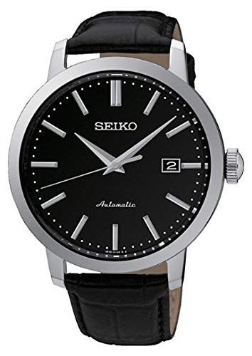 Seiko Mechanik Herren-Uhr Edelstahl mit Lederband SRPA27K1