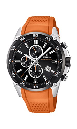 Festina Unisex Erwachsene Chronograph Quarz Uhr mit Leder Armband F20330/4
