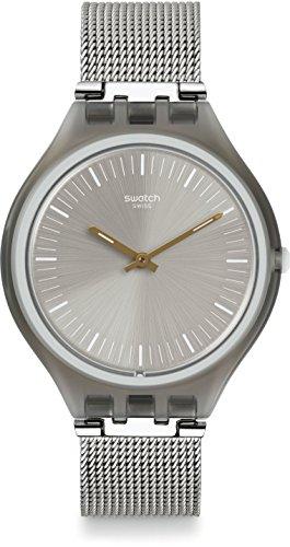 Swatch Unisex-Uhr Digital Quarz mit Edelstahlarmband – SVOM100M