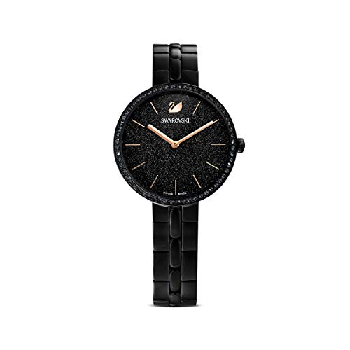 Swarovski Women's Cosmopolitan Watch, Black Swarovski Crystals with Black-Tone PVD Coated Stainless Steel Plating, Wristwatch with Metal Strap