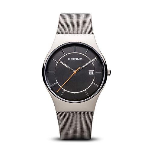 BERING Herren Analog Quarz Classic Collection Armbanduhr mit Edelstahl Armband und Saphirglas 11938-007