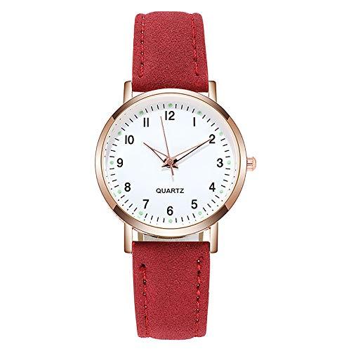 Hirolan Damen Retro Uhr Weibliche Armbanduhr Quarzuhr Starry Mode Uhr Rundes Pu-Armband GroßEs Zifferblatt Armbanduhr Damen Uhren Frauen Einfache Diamantbesetzte Leuchtende Damenuhr GüRtel