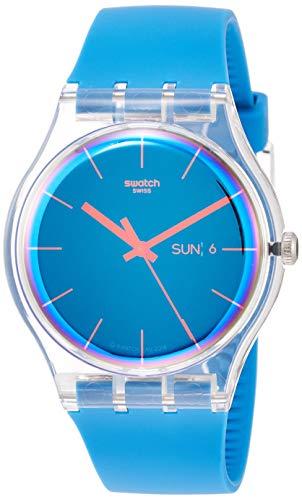 Swatch Herren Analog Quarz Uhr mit Silikon Armband SUOK711