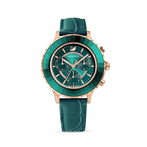 Swarovski Women's Octea Lux Chronograph Quartz Watch, Chic Green Leather Strap with Rose-Gold Tone Plated Stainless Steel Case