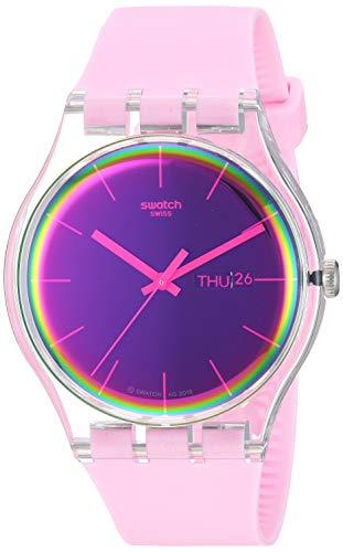 Swatch Damen Analog Quarz Uhr mit Silikon Armband SUOK710