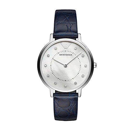 Emporio Armani Damen Analog Quarz Uhr mit Leder Armband AR11095