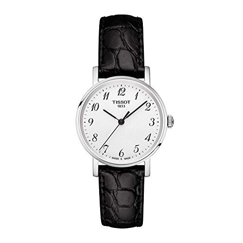 Tissot Damen Analog Quarz Everytime Small Armbanduhr mit Leder Armband T1092101603200