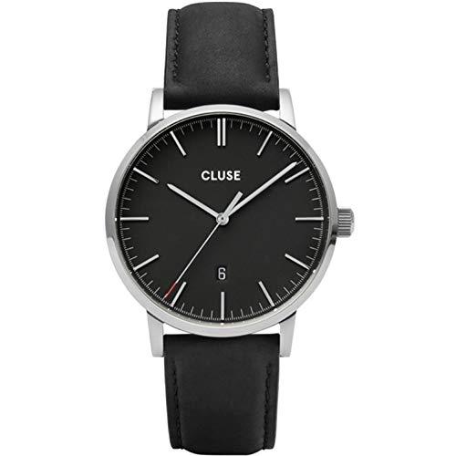Cluse Herren-Uhren Analog Quarz One Size Schwarz Kalbsleder 32010375