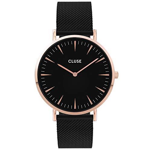 Cluse Damen-Uhren Analog Quarz One Size Schwarz/rosé 32011681