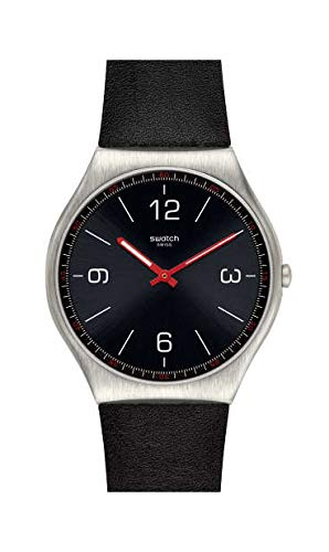 Swatch Herren Analog Schweizer Quarz Uhr mit Echtes Leder Armband SS07S100