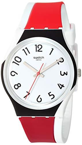 Swatch Unisex Erwachsene Analog Quarz Uhr mit Silikon Armband GW208