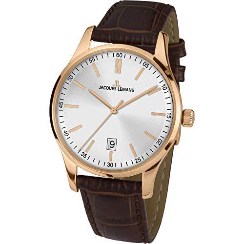 Jacques Lemans Herren-Uhren Analog Quarz One Size Silber 32016856