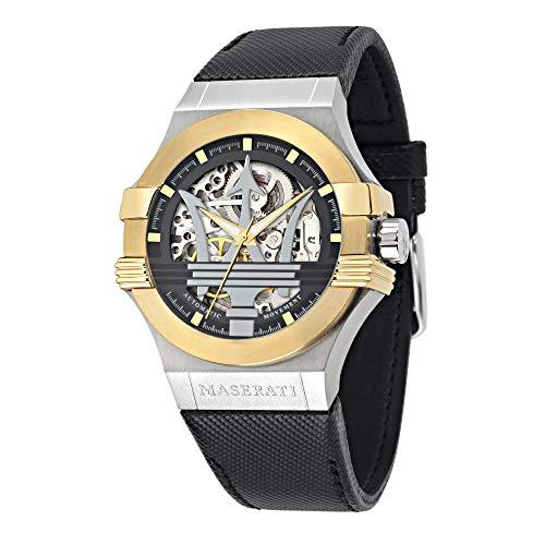 Herrenuhr, Kollektion Potenza, Automatik-Uhrwerk, nur mit Zeitanzeige, aus Edelstahl und Leder - R8821108011