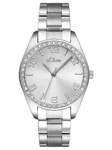 s.Oliver Damen Analog Quarz Armbanduhr mit Edelstahl SO-2276-MQ