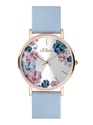 s.Oliver Damen Analog Quarz Uhr mit Silicone Armband SO-4079-PQ