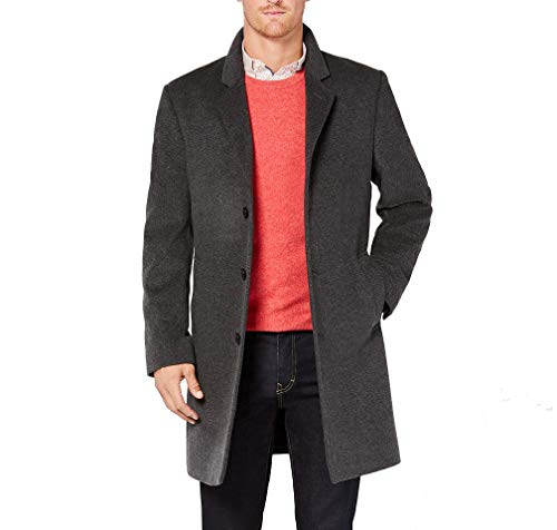 Michael Kors Men's Madison Top Coat, Solid Dark Grey Heather, 38S