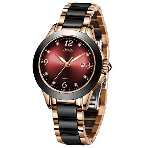 LIGE Uhren Damen Wasserdicht Edelstahl Luxus Analog Quarz Schwarz Armbanduhr Mode Lässig Uhr für Frauen Mädchen