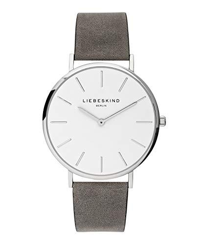 LIEBESKIND BERLIN Unisex Erwachsene Analog Quarz Uhr mit Leder Armband LT-0158-LQ, Grau-Silber