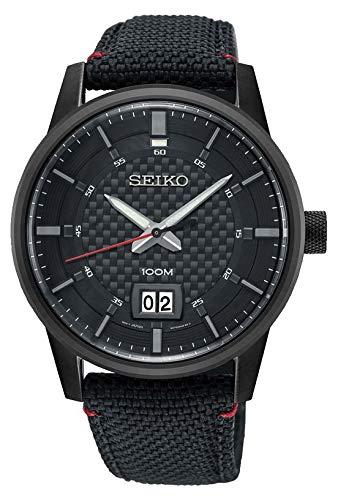 Seiko Quarz Herren-Uhr mit Titankarbidauflage und Textilband SUR271P1