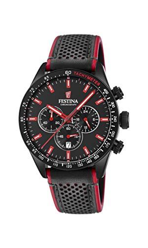 Festina Herren Chronograph Quarz Uhr mit Leder Armband F20359/4