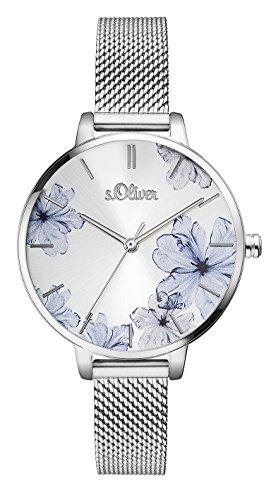 s.Oliver Damen Analog Quarz Armbanduhr mit Edelstahlarmband SO-3523-MQ