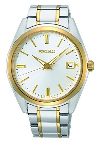 SEIKO Herren Analoger Quarz Uhr mit Stahl zweifarbig Armband SUR312P1