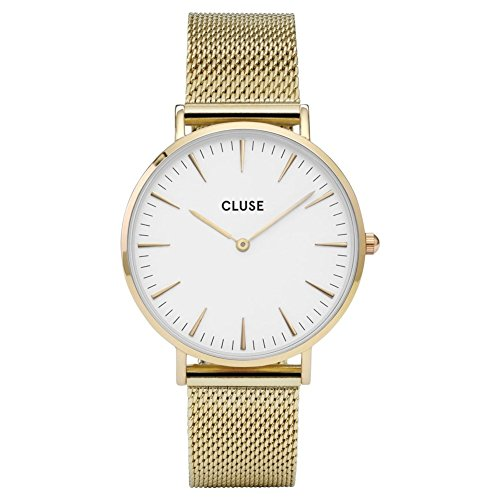 Cluse Damen Armbanduhr Analog Quarz Edelstahl, gold/wei, CL18109