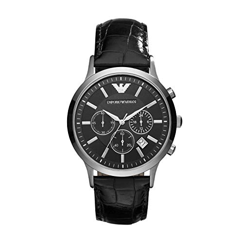 Emporio Armani Herren Chronograph Quarz Uhr mit Leder Armband AR2447