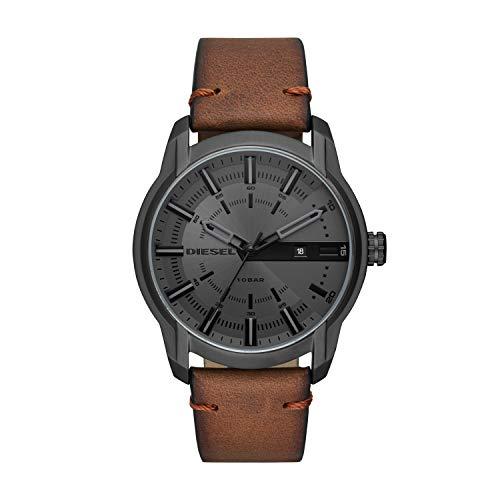 Diesel Herren Analog Quarz Uhr mit Leder Armband DZ1869