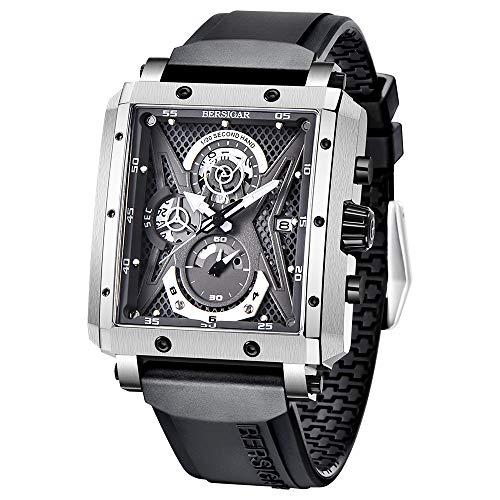 Stilvolle Armbanduhr für Herren BERSIGAR Herrenuhren Rechteckige Uhr Silikon Armbanduhren Saphirglas Quarzwerk wasserdichte Analoge Business