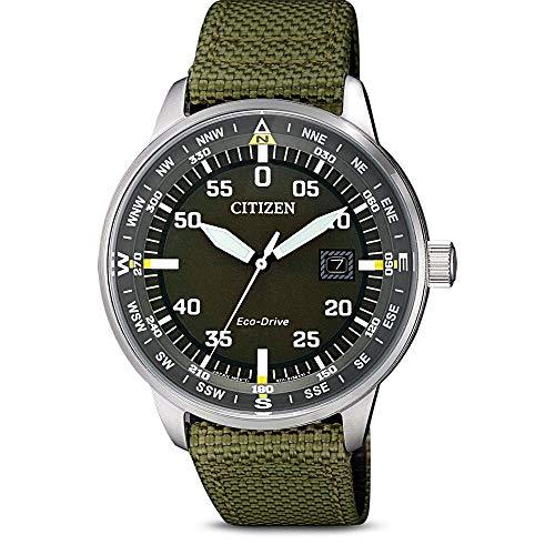 Citizen Herren Analog Quarz Uhr mit Nylon Armband BM7390-22X