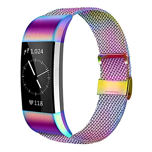 AK Kompatibel Für Fitbit Charge 2 Armband (2 Größen), Metall Mesh Magnetverschluss Edelstahl Ersatzband für Fitbit Charge 2 (Bunt, Small)