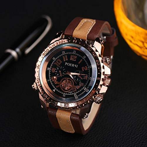 Armbanduhr herren Liusdh Uhren Golden Deluxe Compass Blue Ray Uhrenarmband Herrenuhr uhr(Brown,Einheitsgröße)