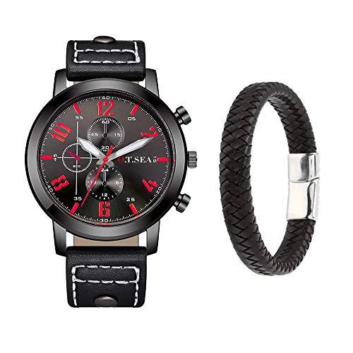 Souarts Herren Armbanduhr Jungen Retro Analoge Quarz Uhr mit Magnet Armband Männer Geschenk Set Herrenuhren mit Kleine Deko Zifferblatt (Black)