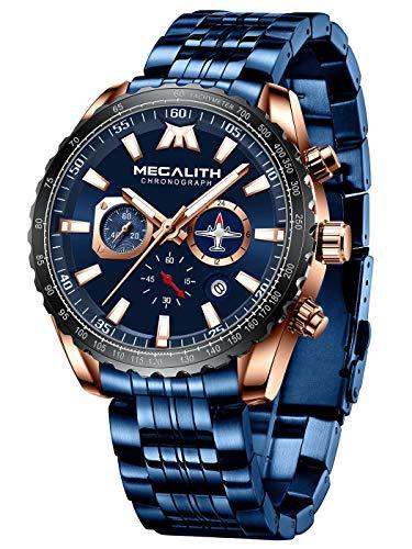 MEGALITH Herrenuhr Blau Chronographen Groß Herren Armbanduhr Edelstahl Analog Uhr Elegant Wasserdicht Datum Leuchtend