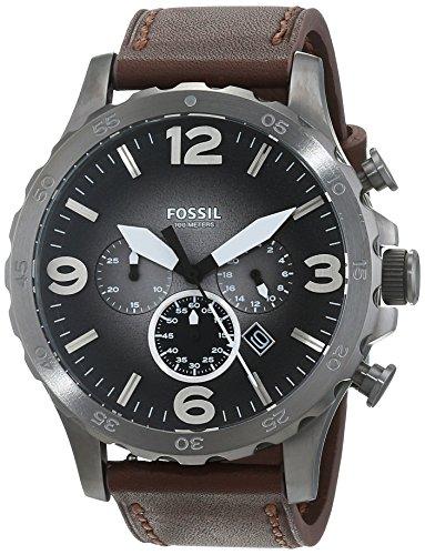 Fossil Herren Chronograph Quarz Uhr mit Leder Armband JR1424