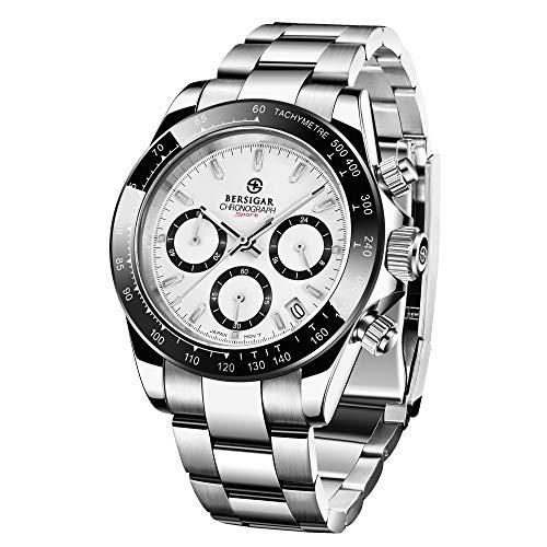 BERSIGAR Herren Multifunktionsuhr wasserdicht Uhren Business Casual Edelstahlarmband Armbanduhr für Männer