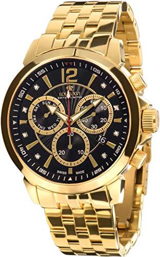 LOUIS XVI Herren-Armbanduhr Athos le Grand Stahlband Gold Schwarz echte Diamanten Chronograph Analog Quarz Edelstahl 886