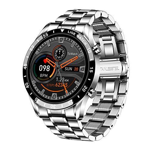LIGE Smart Watch, 1,3 Zoll Touchscreen Fitness Tracker mit Herzfrequenz/Schlafmonitor Smartwatch IP67 wasserdichte Edelstahl Band Fitness Uhr für IOS Andirod (Sliver)